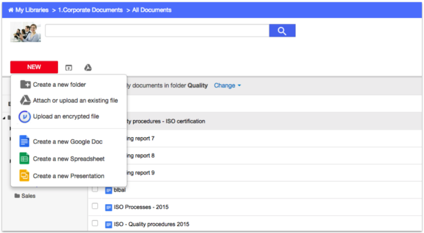 AODocs Screenshot of Secure Document Management