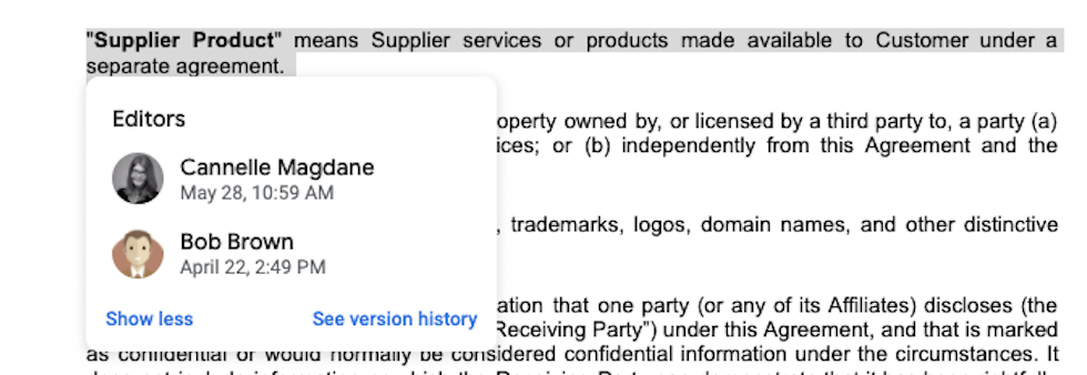 Google Docs Editor Edit History for Specific Clause