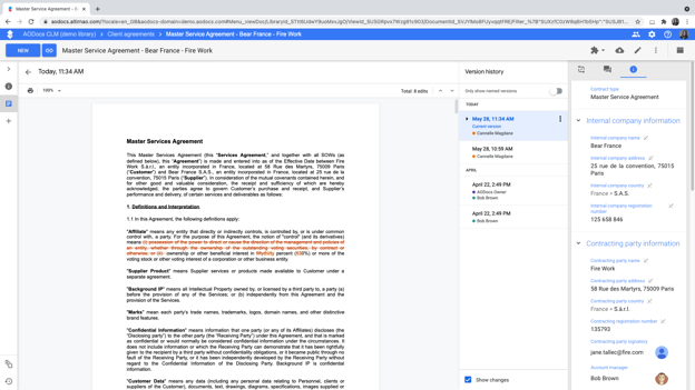 Google Docs Version History for Contracts