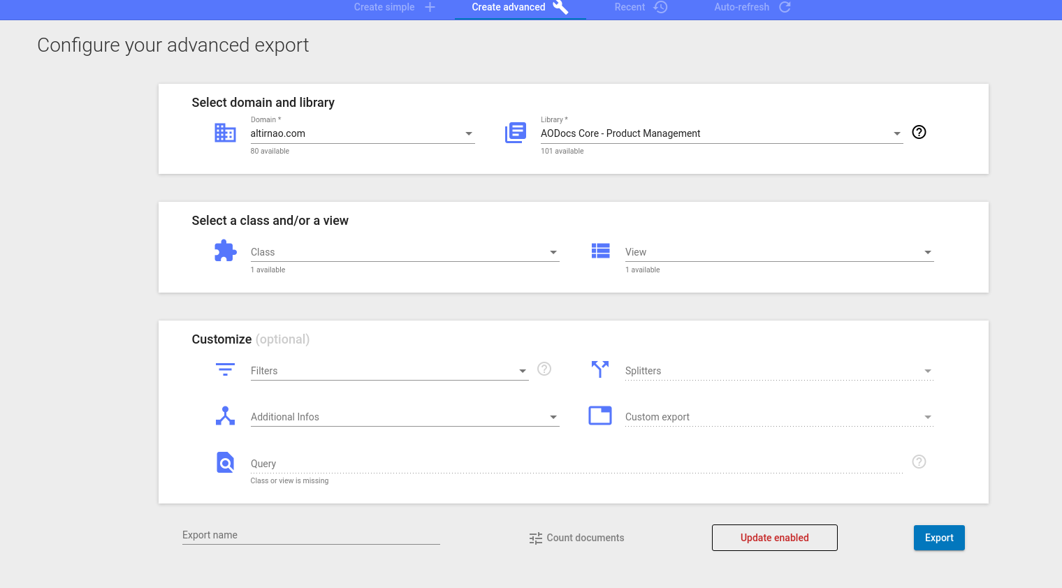 configure advanced report screen shot